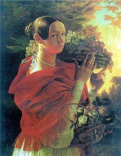 Хруцкий И.Т. Портрет молодой женщины с корзиной